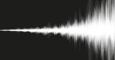 weiße Erdbebenwelle auf schwarzem Hintergrund, Audiowellendiagrammkonzept vektor
