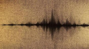 Erdbebenwelle niedrig und hoch Richterskala mit Kreisvibration auf altem Papierhintergrund vektor