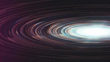 abstraktes glänzendes schwarzes Spiralloch auf Galaxienhintergrund. Planeten- und Physikkonzeptdesign vektor