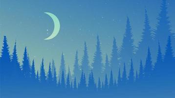 vektor natt tallskog, landskap bakgrund, dimmigt och dimma konceptdesign.