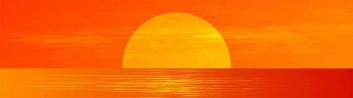 panorama vacker fullmoon på soluppgång havslandskap bakgrund, solsken och horisontell konceptdesign. vektor
