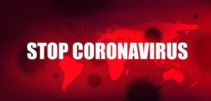 Stoppen Sie Coronavirus-Text mit globalem Hintergrund, Konzept des Zellausbruchs, Design für die Wissenschaft und medizinischem Gesundheitsrisiko vektor