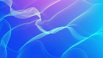 hellblauer digitaler Schallwellenhintergrund, gewellte Partikeloberfläche und Erdbebenwellenkonzeptdesign vektor