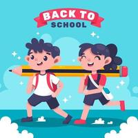 glücklicher Schüler bereit, wieder zur Schule zu gehen vektor
