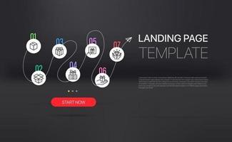 Promo-Landingpage mit Infografik-Vorlage. Vorlage mit Beispieltext und Schaltfläche vektor