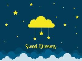 Nachtszene mit Wolken und Sternen. Nachthimmel mit großer Wolke. gute Nachthimmelkarte. vektor