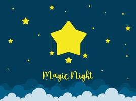 Nachtszene mit Sternen. gute Nachthimmelkarte. vektor
