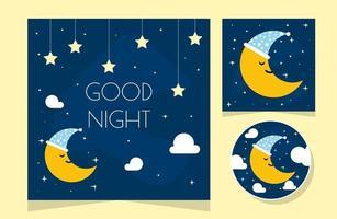 Nachtszene mit Mond und Sternen. Nachthimmel mit großem Mond. gute Nachthimmelkarte. vektor