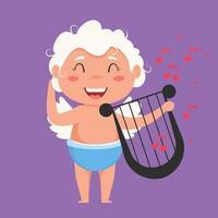 alla hjärtans cupid älskar lekfull ängel. söt pojke eller flicka cupid. flygande ängel älskar att spela musik på lyären.