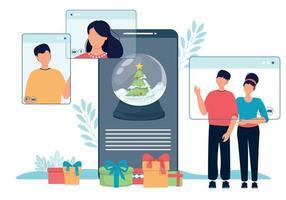 Online-Weihnachtsfeier Schneekugel und Menschen Telefon Bildschirm. vektor
