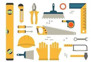 Bauwerkzeuge Satz von farbigen Symbolen. Reparaturausrüstung für Vektorillustrationen. vektor