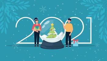 Feiertag 2021 Logo Nummern Schneekugel magische Feier. vektor