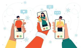 Online-Weihnachtsfeier Menschen Hände mit Telefon Bildschirm und glücklich Mann Frau Charakter. vektor