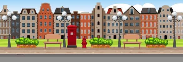 horizontale Straßenszene zur Tageszeit mit Hintergrund vieler Gebäude vektor