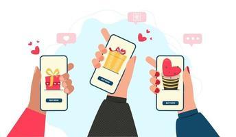online alla hjärtans dag shopping koncept med händer och telefoner
