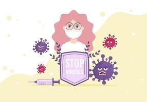 stoppa virus koncept vektorillustration. kvinna läkare i mask. vektor
