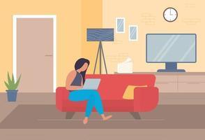 freiberufliche Figur zu Hause arbeiten, von zu Hause aus arbeiten, selbständig, Home Office, zu Hause arbeiten, Freiheit konzeptionelle Vektor-Illustration. vektor