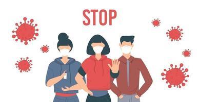 Stoppen Sie das Coronavirus. Covid-19-Ausbruchsvektor Illustratin. Menschen mit Gesichtsmaske. vektor