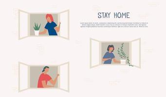 stanna hemma under koronavirusepidemin. grannar tecknade människor i lägenhetshusfönster.