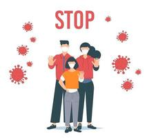 Stoppen Sie das Coronavirus. Coronavirus-Ausbruchsvektor illustratin. Familie mit Gesichtsmaske. vektor