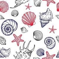 nahtloses Muster mit Muscheln und Seesternen. Meereshintergrund. Hand gezeichnete Vektorillustration im Skizzenstil. Perfekt für Grüße, Einladungen, Malbücher, Textilien, Hochzeiten und Webdesign. vektor