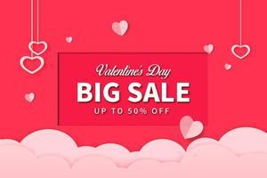 pappersstil alla hjärtans dag säljfrämjande, rabatt försäljning och shopping med specialerbjudande mall banner design vektor