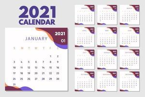 abstraktes Kalenderlayout für die Kalenderentwurfsvorlage 2021. Die Woche beginnt am Sonntag. einseitiger Kalender 2021 Design vektor