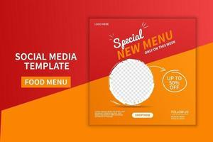 kreativa premium mat meny restaurang sociala medier post mall design. webb banner reklam. online-marknadsföringsvektor vektor