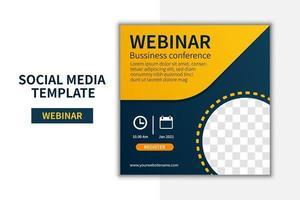 Kreatives Webinar Social Media Post Template Konzeptdesign. Online-Marketing-Promotion-Banner-Design-Vektor