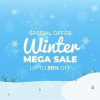Sonderangebot Winter Mega Sale Banner Vorlage in flachem Design, gut für Ihren Online-Promotion-Vektor vektor
