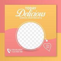 restaurang snabbmat meny särskilda alla hjärtans dag sociala medier post mall. webb banner reklam koncept vektor