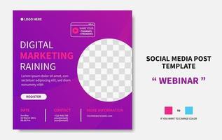 webinar digital marknadsföring utbildning sociala medier post mall. online marknadsföring webb banner design vektor