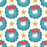 nahtloses Muster von Weihnachtskränzen mit roter Schleife und Sternen auf weißem Hintergrund, Vektor flache Art