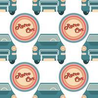 Vektor nahtloses Muster mit Retro-Autos auf einem weißen Hintergrund, Vintage-Farben