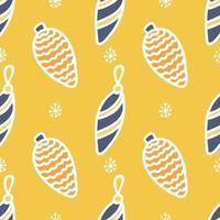 nahtloses Muster von farbigen Weihnachtsspielzeugen mit einem weißen Umriss auf einem gelben Hintergrund mit Schneeflocken, Vektor flaches Weihnachtsbild