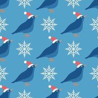 sömlös vektormönster av en fågel i en hatt med snöflingor på blå, julhelgbakgrund vektor