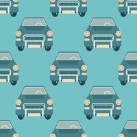 Vektor nahtloses Muster mit Retro-Autos auf einem blauen Hintergrund, Vintage-Farben