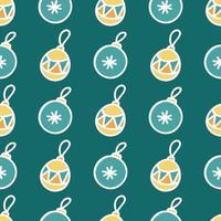 nahtloses Muster von farbigen Weihnachtsspielzeugen mit weißem Umriss auf grünem Hintergrund, flaches Weihnachtsbild des Vektors vektor