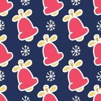 nahtloses Muster der farbigen Glocken mit einem weißen Umriss auf einem blauen Hintergrund mit Schneeflocken, Vektor flaches Weihnachtsbild