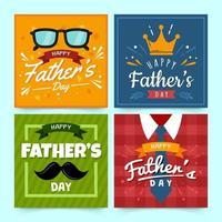 uppsättning kort för fäder dag vektor
