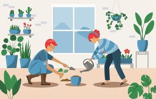 Gartenarbeit zu Hause mit Partnerkonzept vektor