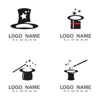 Zauberstab Hut Hut Logo Vorlage Vektor Symbol Design