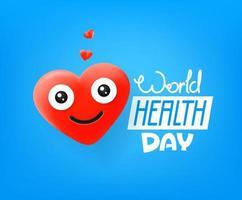 internationella hälsodagen. söt röd hjärta vektor emoji