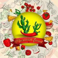 Illustration von mexikanischen Kochprodukten in einer kreisförmigen Verzierung vektor