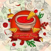 Abbildung 1 von mexikanischen Kochprodukten in einem kreisförmigen Ornament aus Umrissen und farbigen Zutaten für Hintergründe und Aufkleber vektor