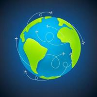 die Erde mit Flugzeugkursen Vektorillustration vektor