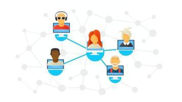 abstraktes Schema des modernen Computernetzwerks. Menschen, die über ein Netzwerk arbeiten vektor