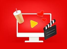 Video-Unterhaltungsvektor-Konzept. moderner Computermonitor auf rotem Hintergrund vektor