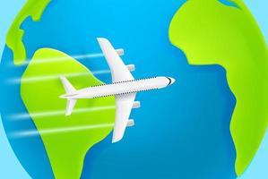passagerarflygplan som flyger i toppfart över jorden. moderna flygplan med skugga vektor