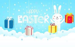 glad påsk gratulationskort mall med presentaskar och söt kanin vektor